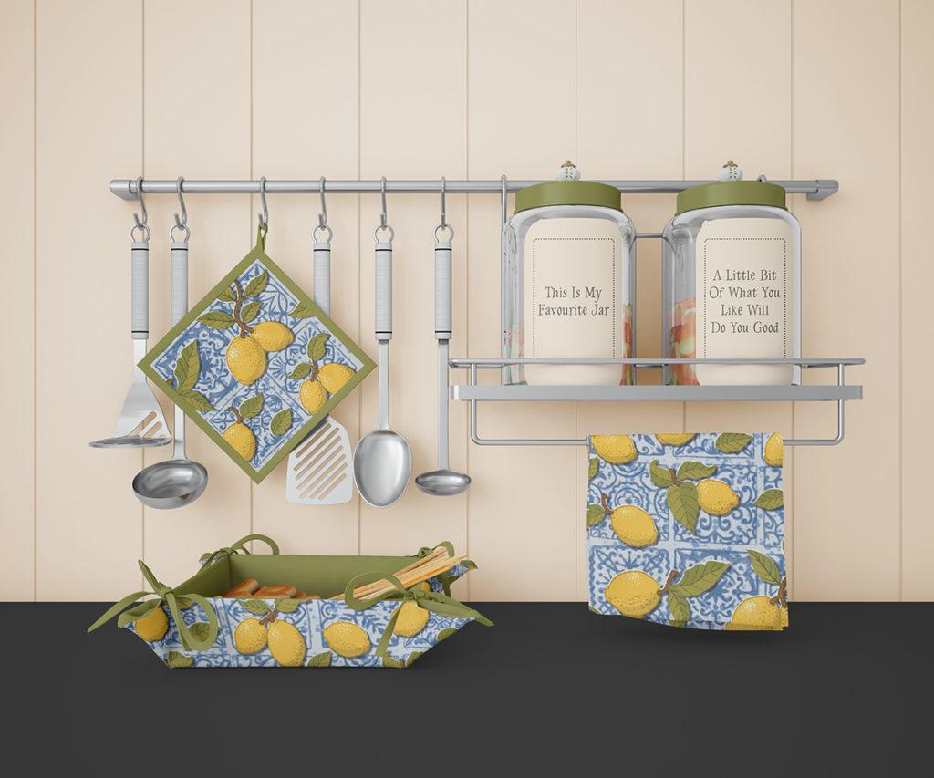 Lemons on Blue Tiles - pattern by Marit Cooper