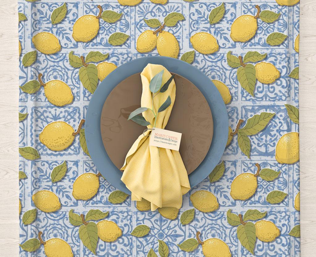 Placemat Lemons on Blue Tiles by Marit Cooper